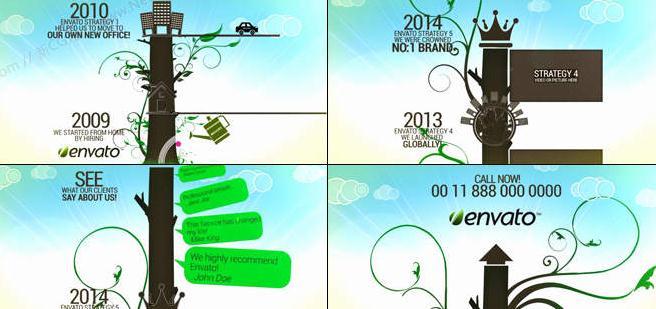 企业的发展就像是一颗大树的生长过程一般,没多一个年份就多增加一个年轮。这里把企业的成长历程形象地比喻成了大树的茁壮成长,随着时间的推移,每到一段树干时,相应的年份时间和企业大事记就展示了出来,到结尾处,大树仍需要浇灌,因为良性企业的发展是不会停歇的,这个象征意义也很不错。其中,花纹生长动画利用了ai矢量素材并进行Scale和Stroke滤镜的属性关键帧动画,天空中的云朵是用MASK工具制作的,主要的树干也是用MASK进行勾画的,镜头动画则依靠的是摄像机动画实现的。全片未采用任何预渲染素材,适合研究学习。