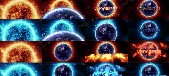 炙热震撼的星球燃烧电影开场片头ae模板免费下载
